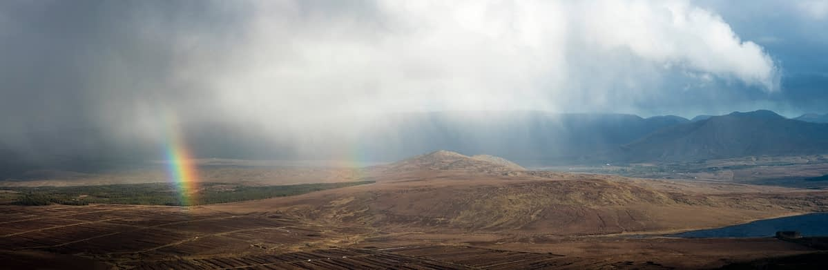 View across Sheeffry Hills from the summit of Croagh Patrick, County Mayo, Ireland.