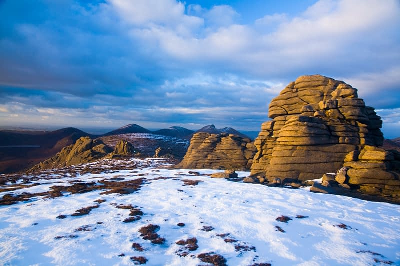 Winter tors on Slieve Binnian, Mourne Mountains, Co Down, Northern Ireland.