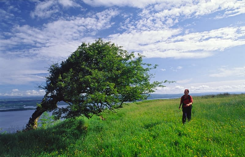 Walking above Lough Erne on the Cliffs of Magho, Co Fermanagh, Northern Ireland.