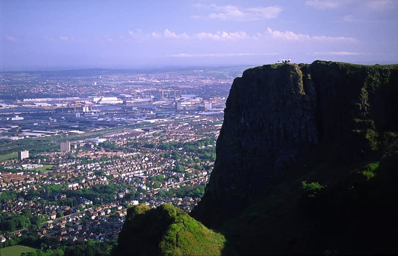 The view over Belfast city from Cave Hill, Belfast, Northern Ireland.