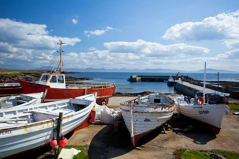 Fishing boats and West Town harbour, Tory Island, Co Donegal, Ireland.