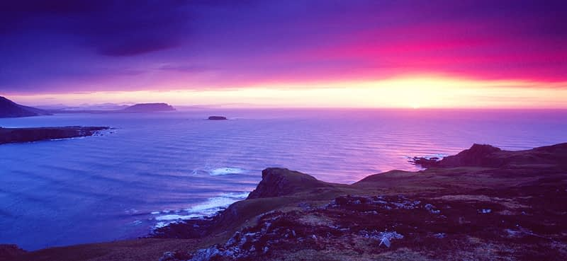 Sunset near Malin Head, Inishowen Peninsula, Co Donegal, Ireland.