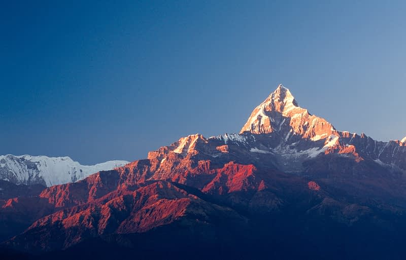 Dawn profile of Machhapuchhare or the Fishtail, 6993m, Annapurna region, Nepal.