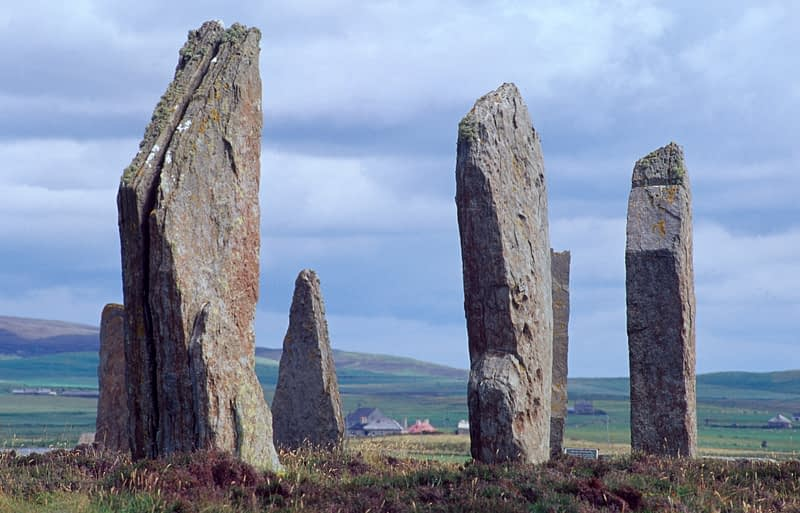 The Ring of Brodgar, standing stones from 2500BC, Mainland, Orkney Isles, Scotland.