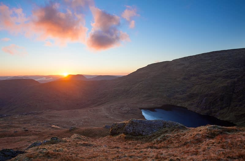 Sunrise over Lough Duff and Gearhameen, Black Valley, County Kerry, Ireland.