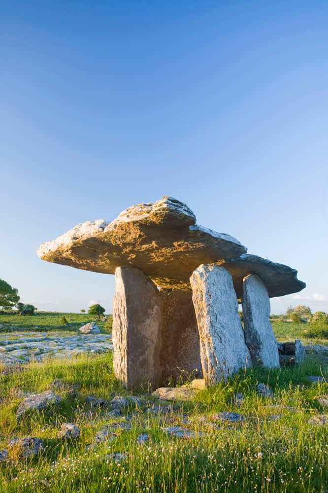 Morning light on Poulnabrone Dolmen, The Burren, Co Clare, Ireland.