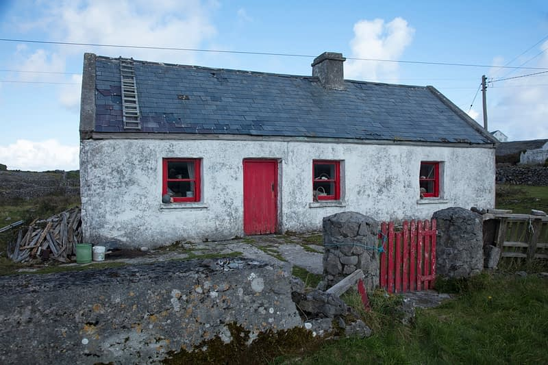 Traditional old cottage on Inishmore, Aran Islands, County Galway, Ireland.