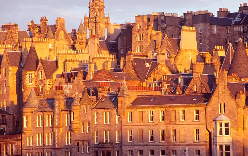 Evening light on Edinburgh Old Town, Scotland.