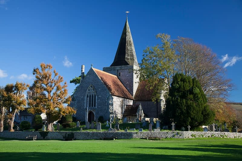 St Andrew's Church, also known as the Cathedral of the Downs, Alfriston, County Sussex, England.