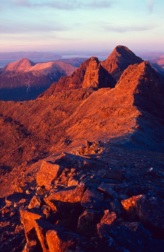 Evening light on the Black Cuillin ridge, Isle of Skye, Scotland.