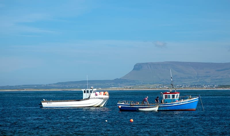 Lobster boats moored in Ballysadare Bay, Co Sligo, Ireland.