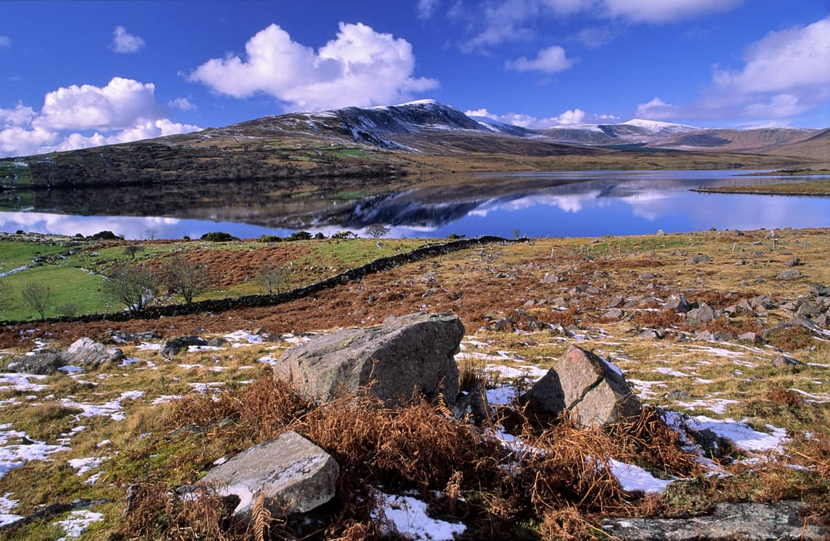 Bengorm and Lough Feeagh in winter, Nephin Beg Mountains, Co Mayo, Ireland.