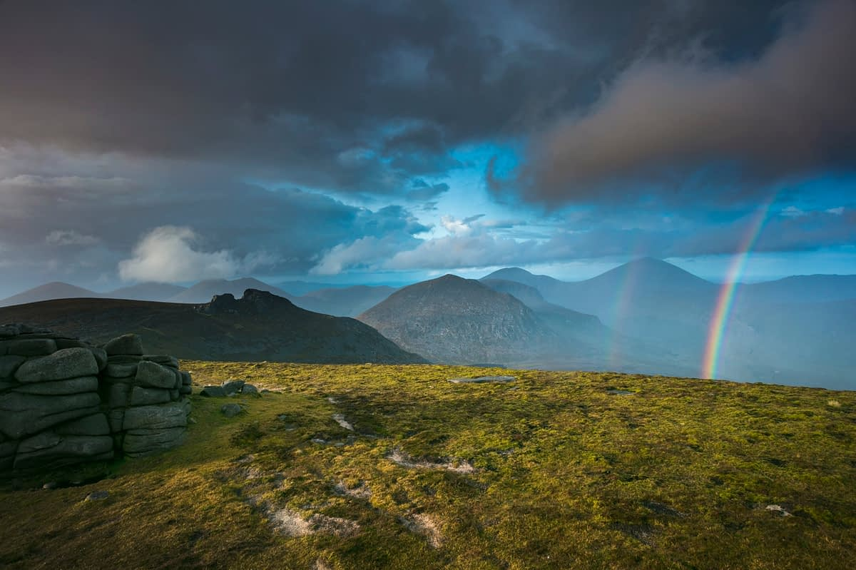 Rainbow over the Mourne Mountains from Slieve Binnian, County Down, Northern Ireland.