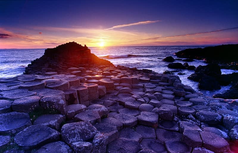 Sunset at the Giant's Causeway, Co Antrim, Northern Ireland.