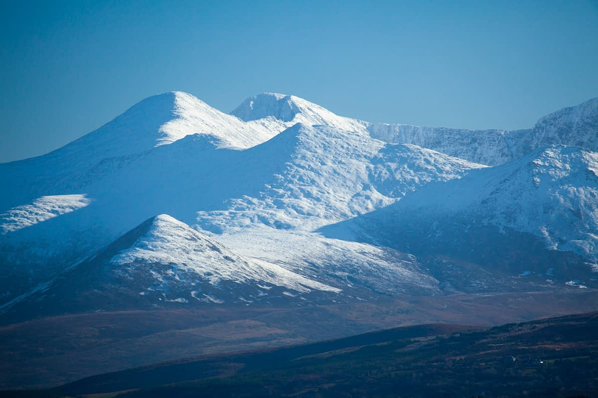 Winter view of the MacGillycuddy's Reeks from Cromane, County Kerry, Ireland.