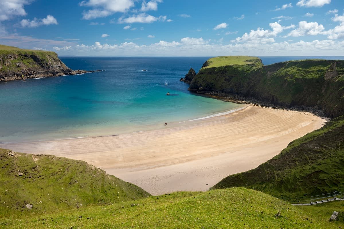 The perfect horseshoe beach of Trabane, or Silver Strand, Malin Beg, County Donegal, Ireland.
