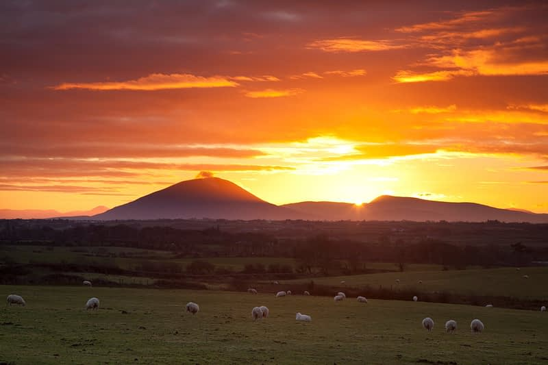 Sunset over the Nephin Beg Mountains, Co Sligo, Ireland.