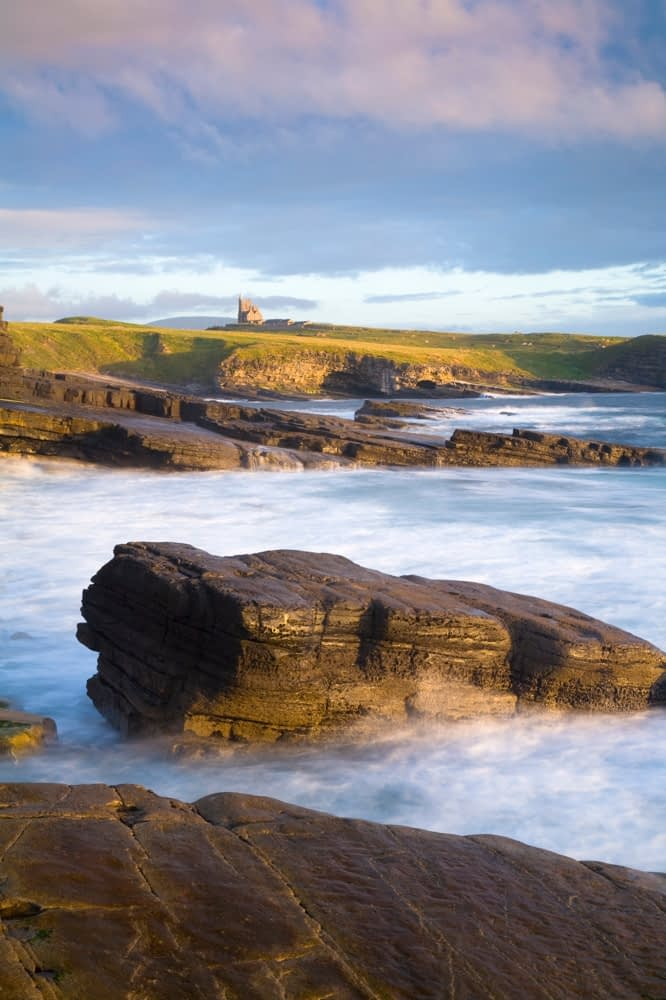 Evening over Mullaghmore Head and Classie Bawn Castle, Co Sligo, Ireland.