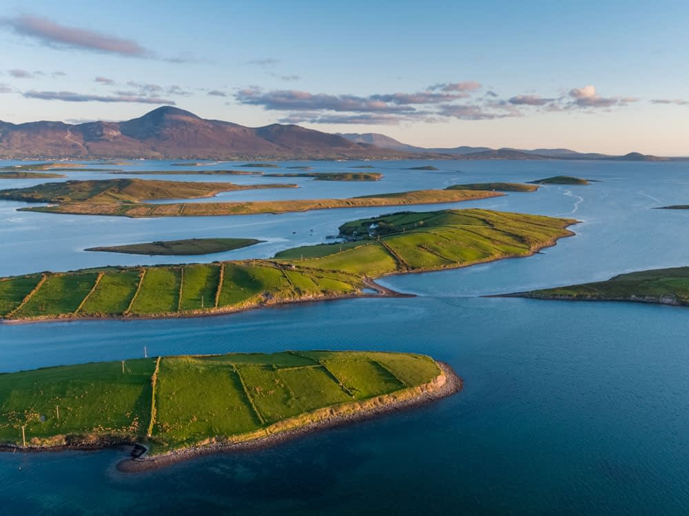 Aerial view over the islands of Clew Bay to Croagh Patrick, County Mayo, Ireland.