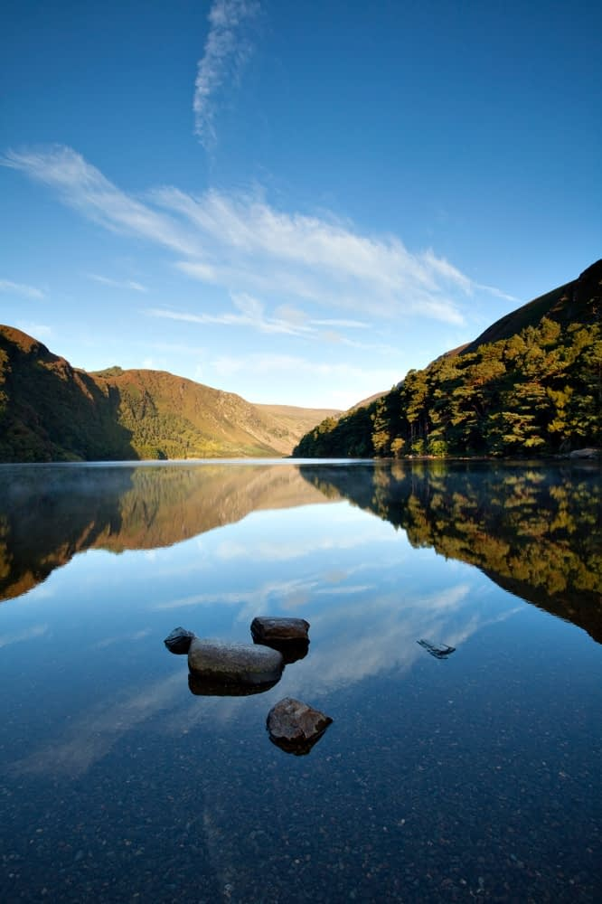 Morning reflections in Upper Lake, Glendalough, Co Wicklow, Ireland.