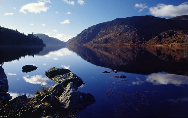 Glenveagh Castle and Lough Veagh, Glenveagh National Park, Co Donegal, Ireland.