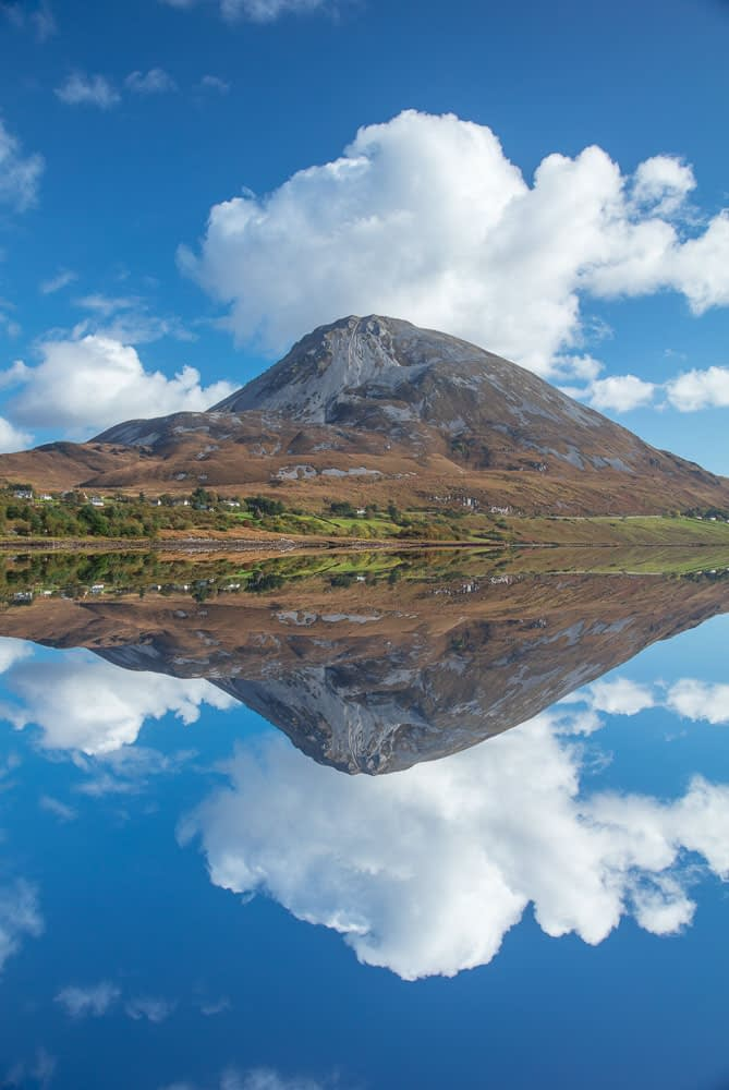 Errigal Mountain reflected in Dunlewy Lough, County Donegal, Ireland.
