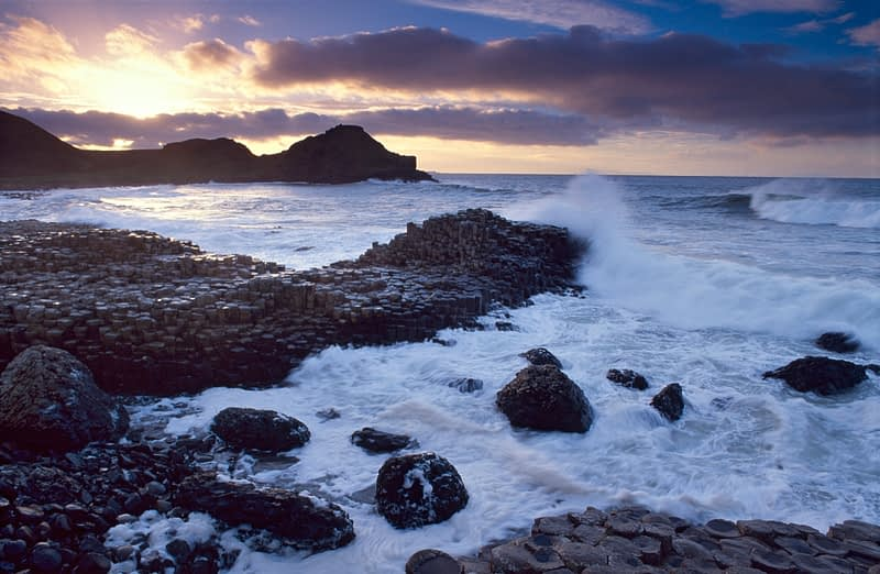 Evening waves at the Giant's Causeway, Co Antrim, Northern Ireland.