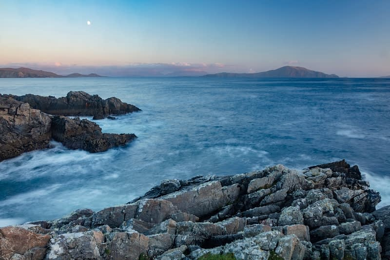 Moonrise over Clare Island, Dooega Head, Achill Island, Co Mayo, Ireland.