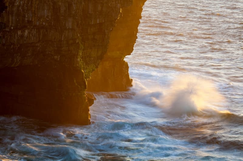 Evening waves beneath Downpatrick Head, County Mayo, Ireland.
