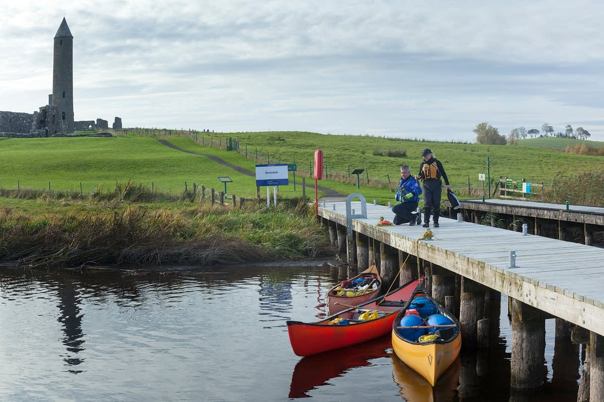 Canoeists at Devenish Island jetty, Lower Lough Erne, County Fermanagh, Northern Ireland.