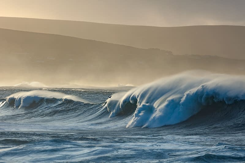 Atlantic storm waves breaking near Ballycastle, County Mayo, Ireland.