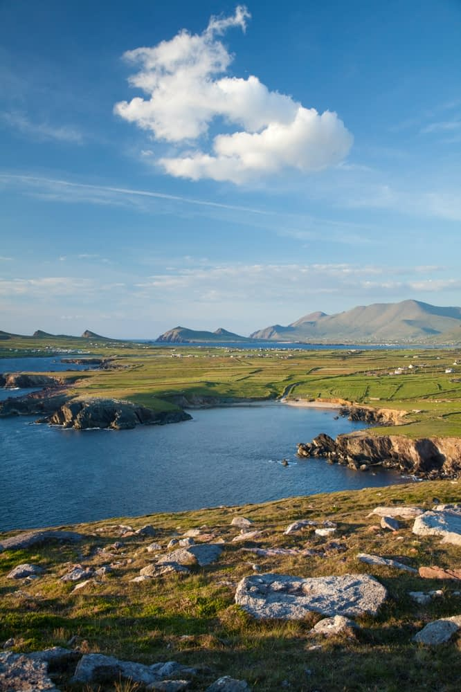 Brandon Mountain and the Dingle Peninsula from Clogher Head, County Kerry, Ireland.