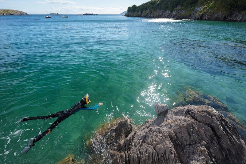 Snorkelling in Derrynane Bay, Caherdaniel, County Kerry, Ireland.