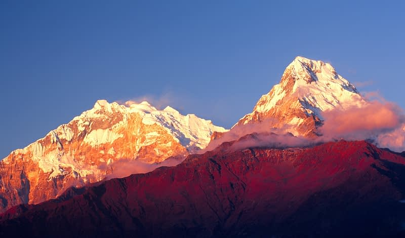 Evening light on Annapurna 1 and Annapurna South, Nepal.