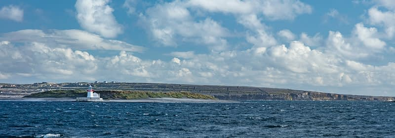 Straw Island Lighthouse near Inishmore, Aran Islands, Galway Bay, County Galway, Ireland.
