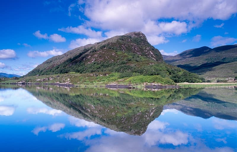 Eagles Nest reflected in The Long Range, Killarney National Park, Co Kerry, Ireland.