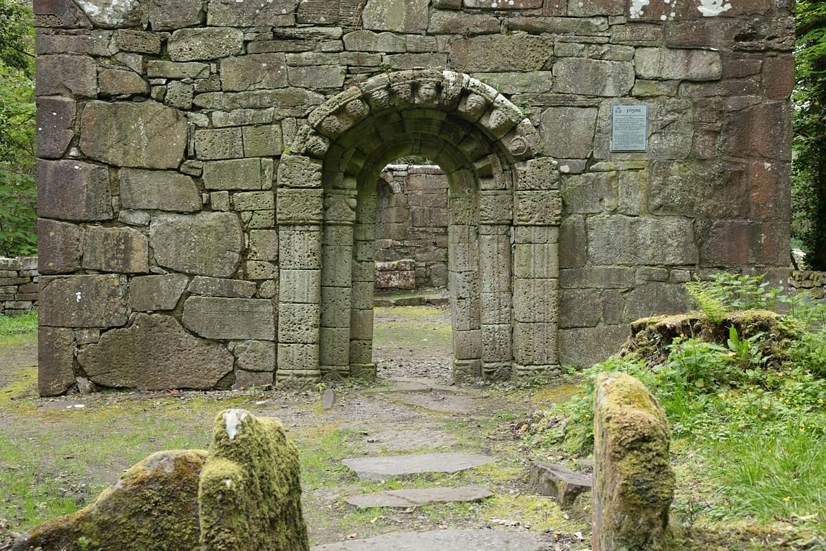 Carved Romanesque doorway of Church of the Saints, Inchagoill Island, Lough Corrib, County Galway, Ireland.