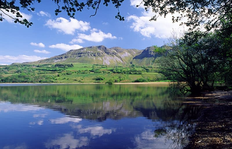 Reflection of Castlegal Mountain in Glencar Lough, Co Sligo, Ireland.
