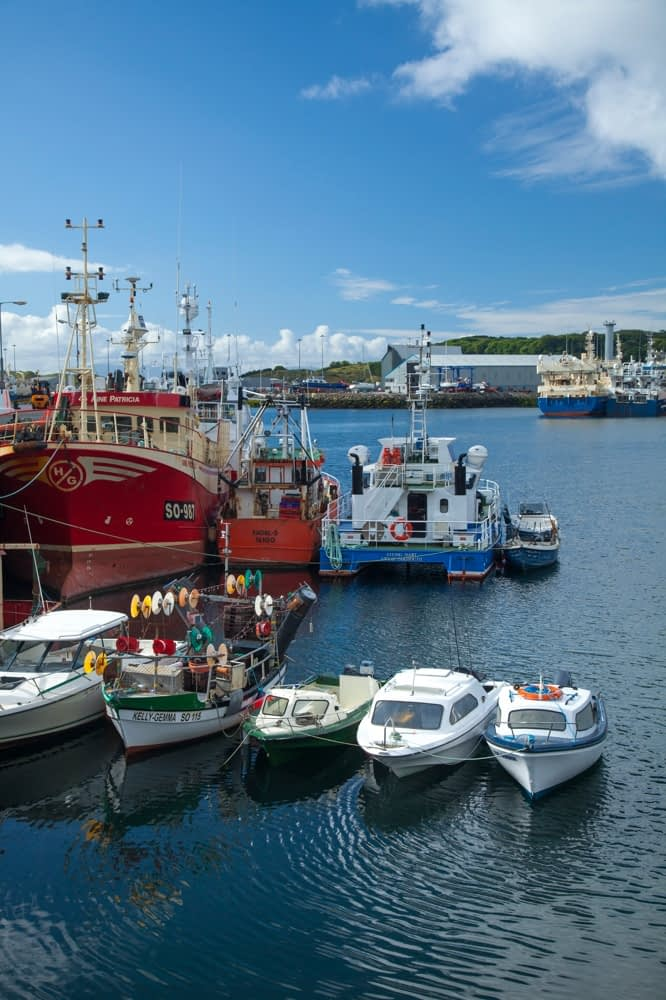 Fishing boats and trawlers moored in Killybegs harbour, County Donegal, Ireland.