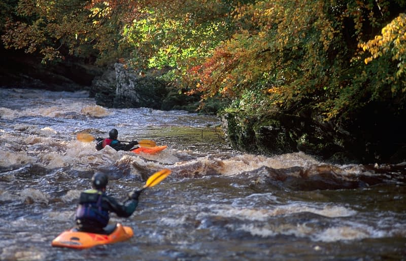 Kayakers on the River Roe, Limavady, County Derry, Northern Ireland.