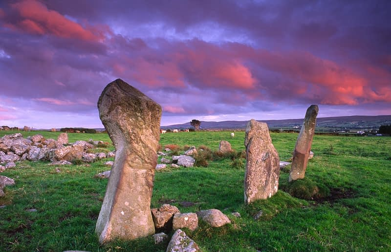Sunset at Bocan stone circle, Culdaff, Inishowen, Co Donegal, Ireland.