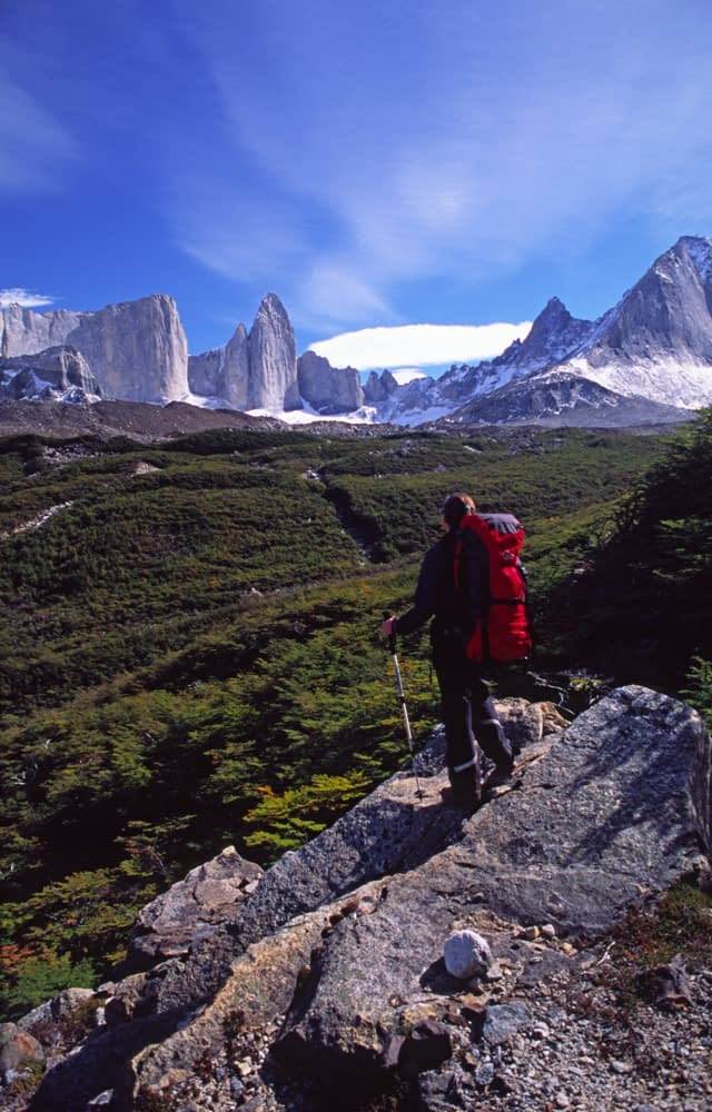 Trekker in the French Valley, Paine Circuit, Torres del Paine NP, Patagonia, Chile.