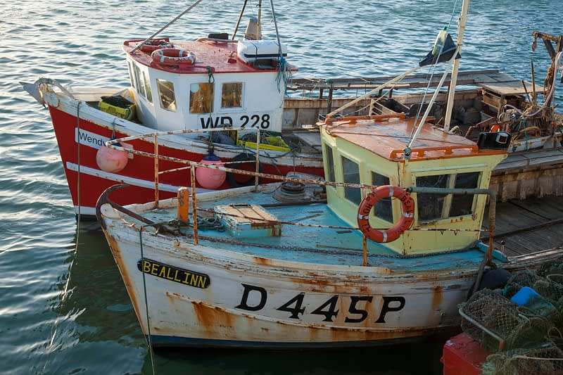 Fishing boats in Howth harbour, County Dublin, Ireland.