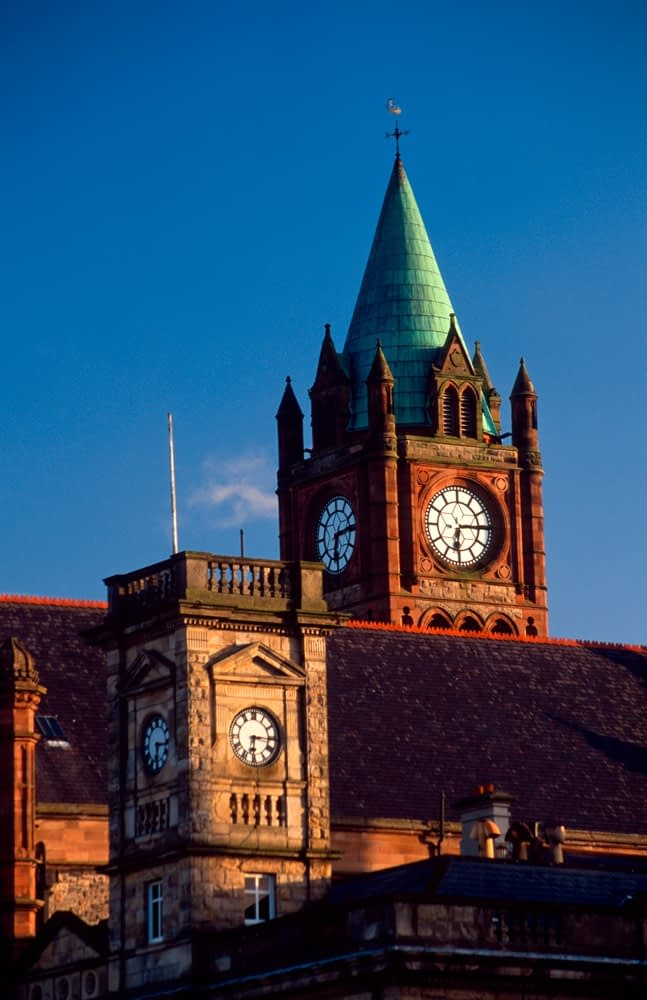 The Guildhall and Customs House clock towers, Derry, Co Derry, Ireland.