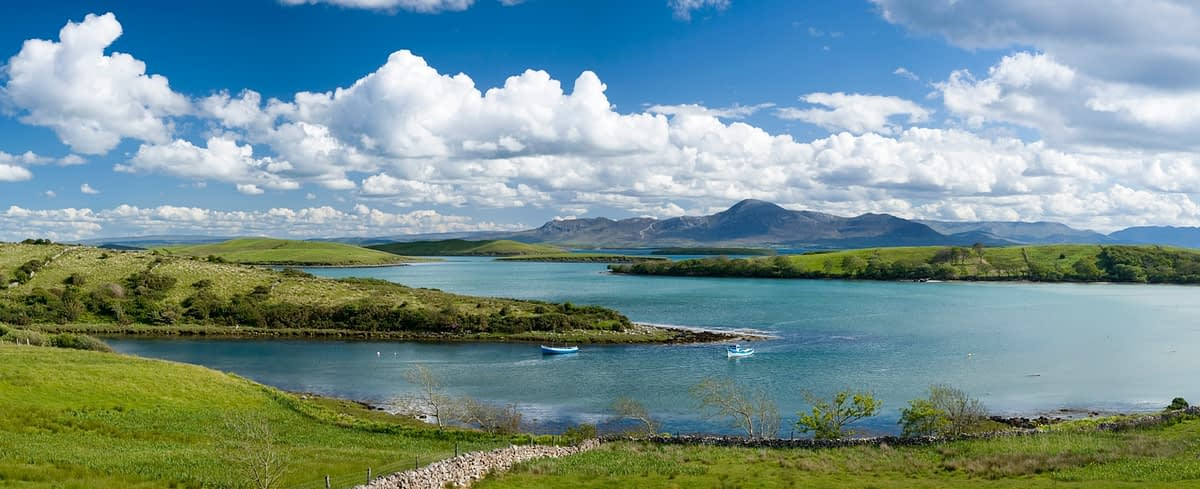 Looking across Clew Bay to Croagh Patrick, Co Mayo, Ireland.