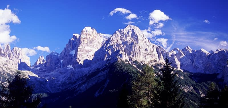 View of the Brenta Dolomites from Madonna di Campiglio, Italian Alps, Italy.