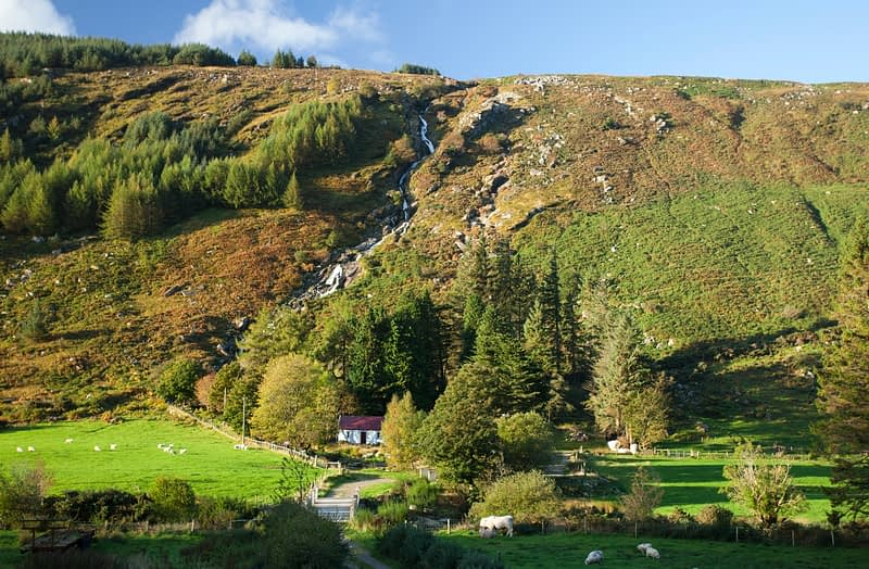 Carrawaystick Waterfall, Glenmalure, Wicklow Mountains, County Wicklow, Ireland.