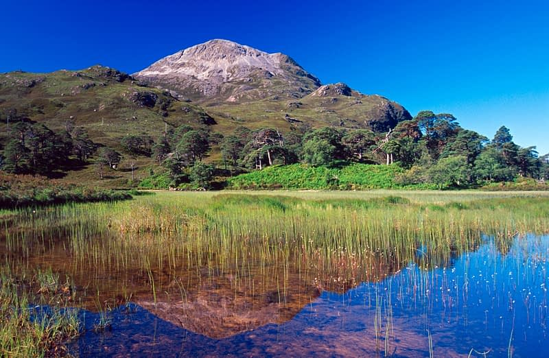 Sgurr Dubh reflected in Loch Clair, Wester Ross, Scotland.