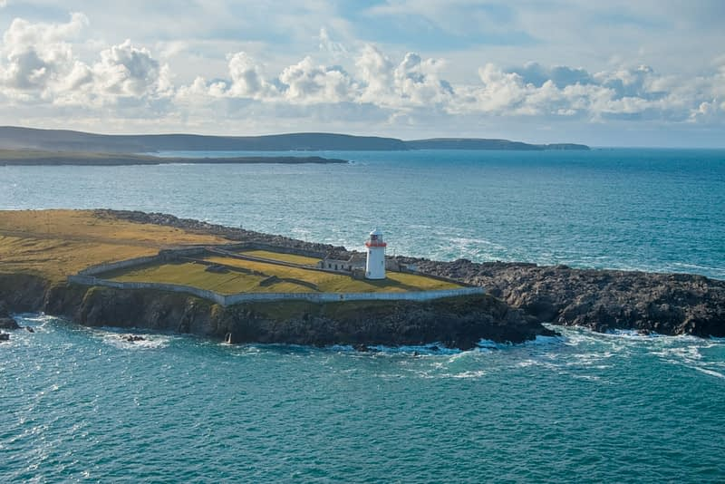 Aerial view of Ballyglass Lighthouse, Broadhaven Bay, County Mayo, Ireland.