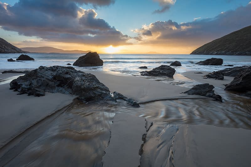 Winter sunrise from Keem Beach, Achill Island, County Mayo, Ireland.
